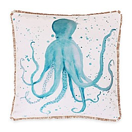 Thro Ozwald Watercolor Octopus Square Throw Pillow