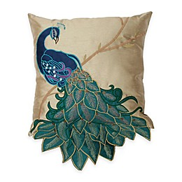 Thro Fancy Peacock 16-Inch x 16-Inch Throw Pillow