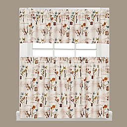 Le Jardin Kitchen Window Curtain Tiers and Valance in Cream