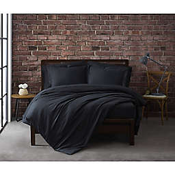 Sean John® Solid Cotton Percale 3-Piece Full/Queen Duvet Cover Set in Black