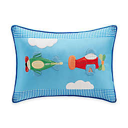 Kids Plush Airplane Oblong Pillow in Blue