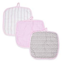 MiracleWare Muslin 3-Pack Baby Washcloth Set in Pink