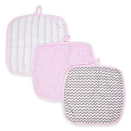 MiracleWare Muslin 3-Pack Baby Washcloth Set in Pink