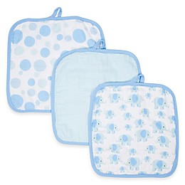 MiracleWare Elephants Muslin 3-Pack Baby Washcloth Set