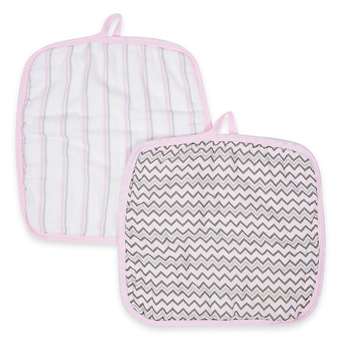 Alternate image 1 for MiracleWare Muslin 2-Pack Baby Washcloth Set in Pink