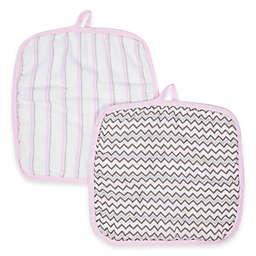 MiracleWare Muslin 2-Pack Baby Washcloth Set in Pink