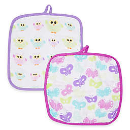 MiracleWare Butterfly & Owl Muslin 2-Pack Baby Washcloth Set