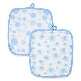MiracleWare Elephants Muslin 2-Pack Baby Washcloth Set