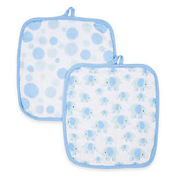 MiracleWare Elephants Muslin 2-Pack Baby Washcloth Set