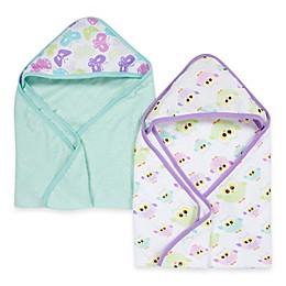 Miracle Blanket® Butterfly & Owl 2-Pack Muslin Hooded Towel