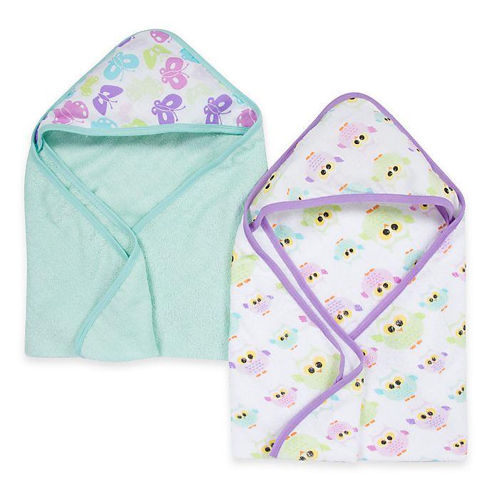 Alternate image 1 for Miracle Blanket® Butterfly & Owl 2-Pack Muslin Hooded Towel