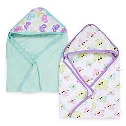 Miracle Blanket® Butterfly & Owl 2-Pack Muslin Hooded Towel