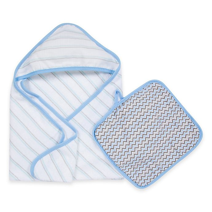 Alternate image 1 for MiracleWare Muslin Hooded Towel & Washcloth Set in Blue & Grey