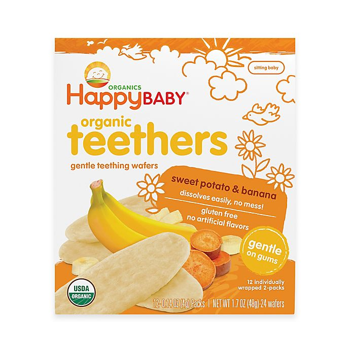 Alternate image 1 for Happy Baby™ Gentle Teethers 12-Packs of 2 Banana & Sweet Potato Organic Teething Wafers