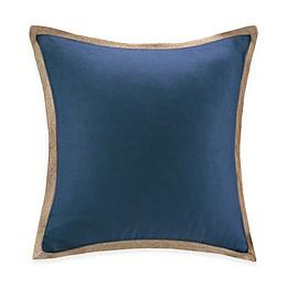 Madison Park Jute Trim Square Pillow in Navy