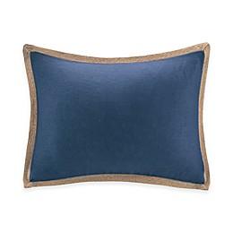 Madison Park Jute Trim Oblong Pillow in Navy