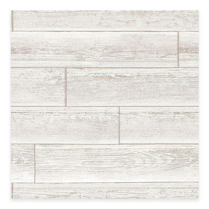 Alternate image 1 for WallPops!® NuWallpaper™ Wood Paneling Peel & Stick Wallpaper in Cream
