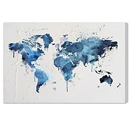 Oliver Gal Artist Co. Mapamundi Aqua Canvas Wall Art