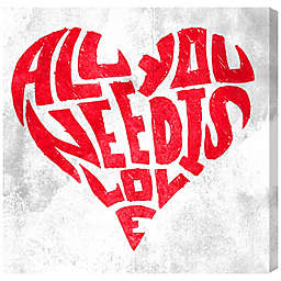"""Oliver Gal 20-Inch Square """"All You Need is Love"""" Canvas Wall Art"""