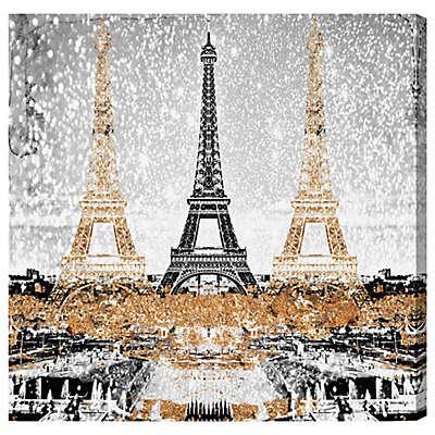 Oliver Gal Triple Paris Gold Canvas Wall Art