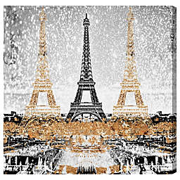 Oliver Gal Triple Paris Gold Canvas Wall Art