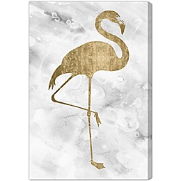 Oliver Gal Artist Co. Flamingo Solid Gold Canvas Wall Art