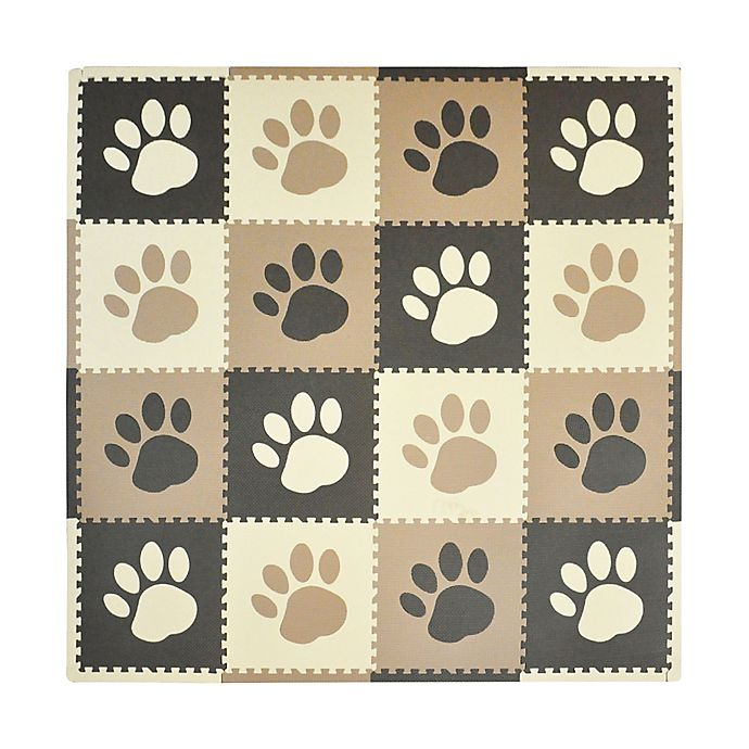 Alternate image 1 for Tadpoles™ by Sleeping Partners Paw Print Play Mat in Taupe/Brown