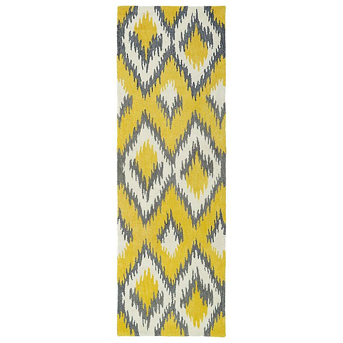 Alternate image 1 for Kaleen Global Inspirations Ikat 2-Foot 6-Inch x 8-Foot Runner in Yellow