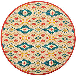 Safavieh Four Seasons Southwestern 4-Foot Round Area Rug in Natural/Blue