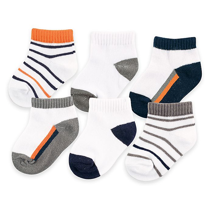 Alternate image 1 for BabyVision® Yoga Sprout™ 6-Pack No Show Ankle Socks in Navy/Orange