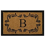 Nature by Geo Crafts Leaf Bordered 18-Inch x 30-Inch Letter  B  Door Mat in Natural Black