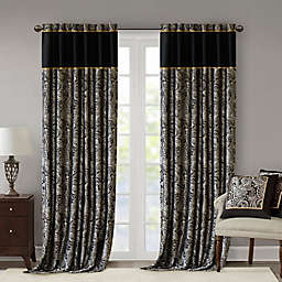 Madison Park Aubrey 2-Pack 108-Inch Rod Pocket Window Curtain Panels in Black