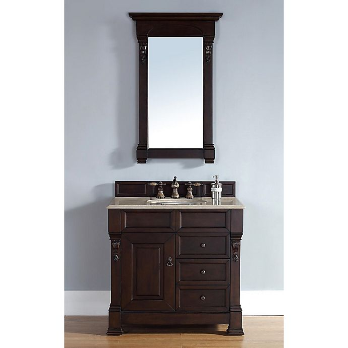 Alternate image 1 for James Martin Furniture Brookfield Single Vanity with Galala Beige Stone Top in Burnished Mahogany