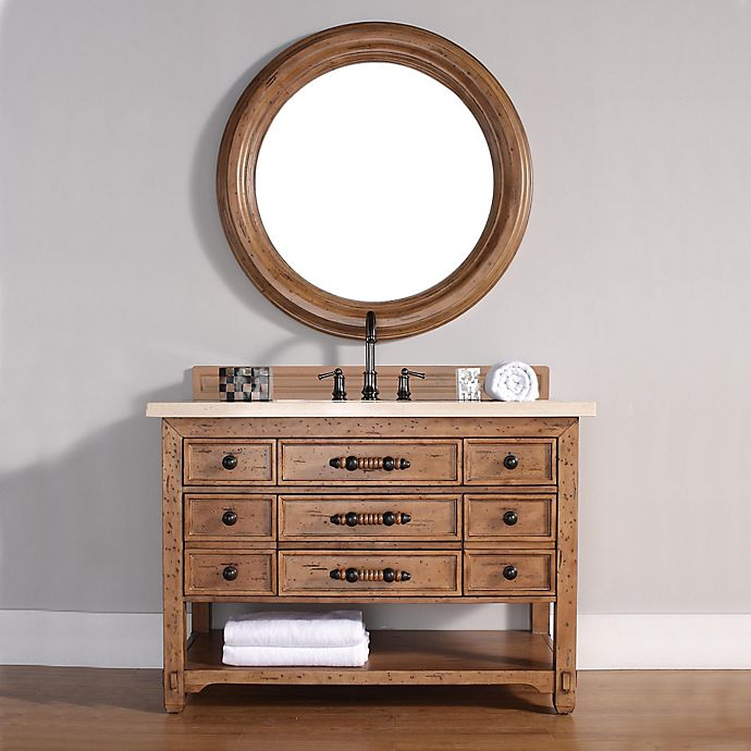Alternate image 1 for Malibu 48-Inch Honey Alder Wood Single Vanity with Galala Beige Stone Top