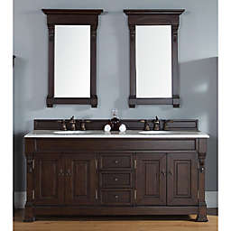 Brookfield 72-Inch Burnished Mahogany Double Vanity with Drawers and Carrara White Stone Top