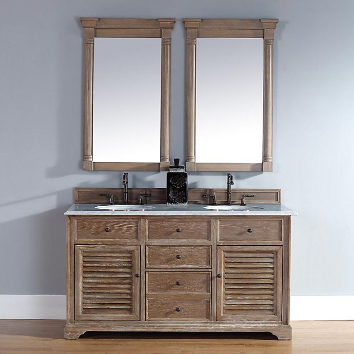 Alternate image 1 for Savannah 60-Inch Driftwood Double Vanity with Drawers and Carrara White Stone Top