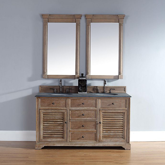 Alternate image 1 for Savannah 60-Inch Driftwood Double Vanity with Drawers and Absolute Black Rustic Stone Top
