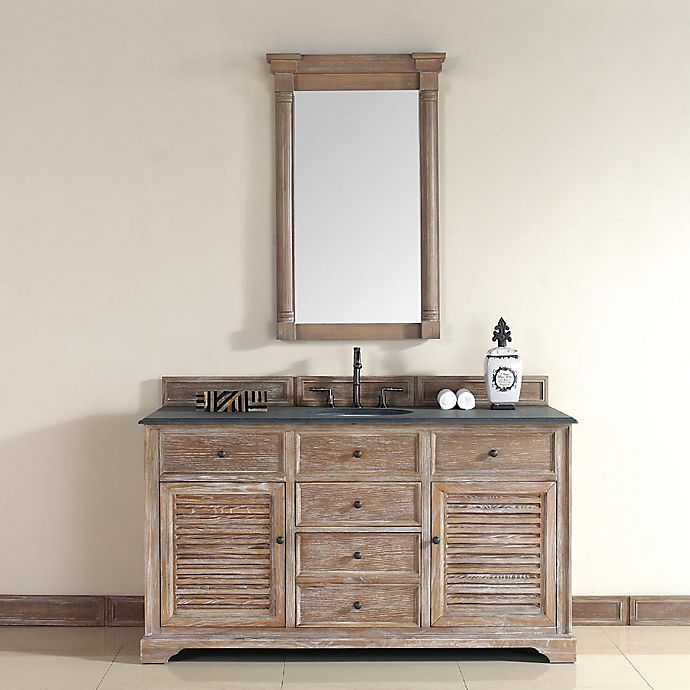 Alternate image 1 for Savannah 60-Inch Driftwood Single Vanity with Drawers and Absolute Black Rustic Stone Top