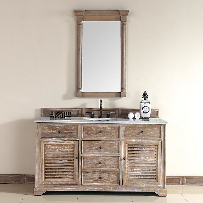 Alternate image 1 for Savannah 60-Inch Driftwood Single Vanity with Drawers and Carrara White Stone Top