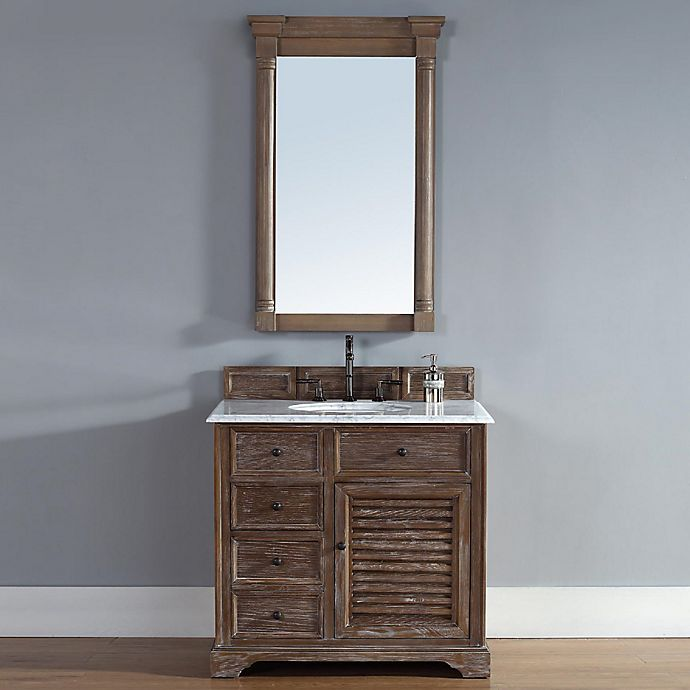 Alternate image 1 for Savannah 36-Inch Driftwood Single Vanity with Drawers and Carrara White Stone Top