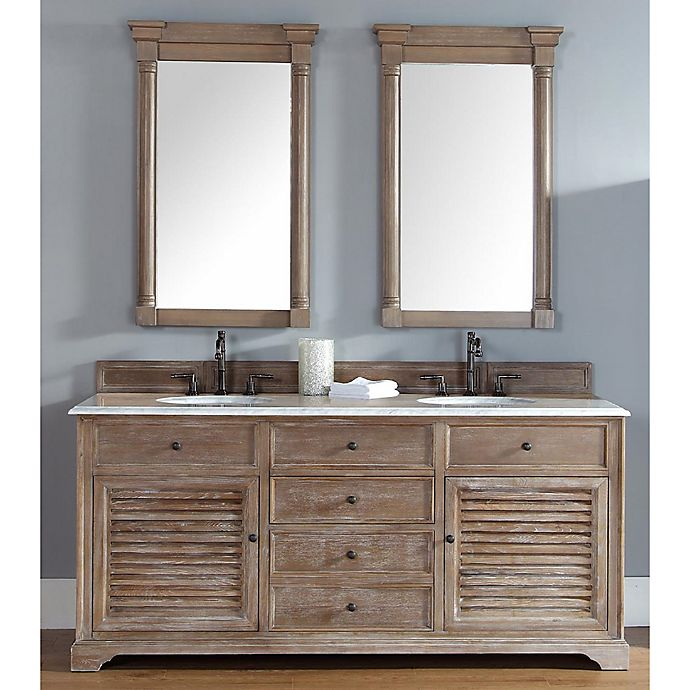 Alternate image 1 for Savannah 72-Inch Driftwood Double Vanity with Drawers and Carrera White Stone Top