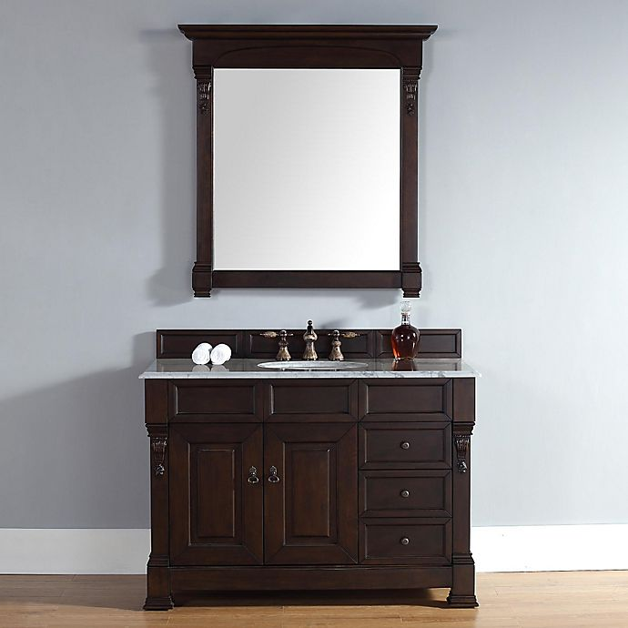Alternate image 1 for Brookfield 48-Inch Burnished Mahogany Single Vanity w/ Drawers with Carrera White Stone Top
