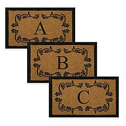 Nature by Geo Crafts Leaf Bordered 24-Inch x 39-Inch Monogrammed Door Mat in Natural Black