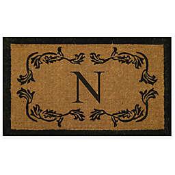 "Nature by Geo Crafts 24"" x 39"" Leaf Border Monogram Letter ""N"" Door Mat"