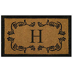 "Nature by Geo Crafts 24"" x 39"" Leaf Border Monogram Letter ""H"" Door Mat"