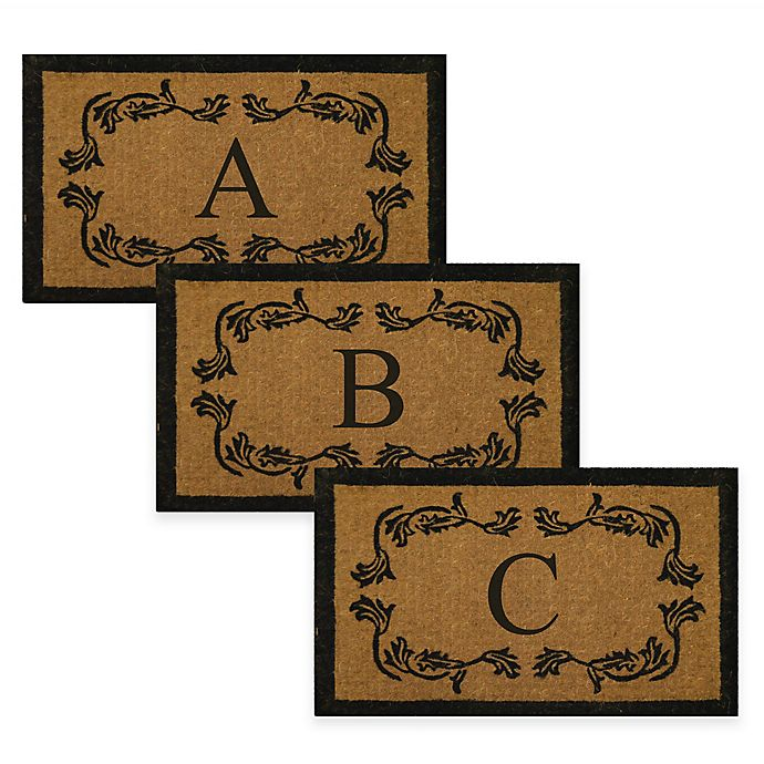Alternate image 1 for Nature by Geo Crafts Leaf Bordered 30-Inch x 48-Inch Monogrammed Door Mat in Natural Black