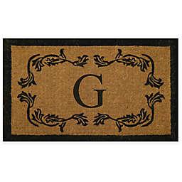 "Nature by Geo Crafts 30"" x 48"" Leaf Border Monogram Letter ""G"" Door Mat"