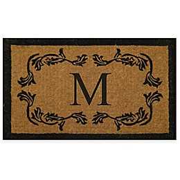 """Nature by Geo Crafts Leaf Bordered 30-Inch x 48-Inch Letter """"M"""" Door Mat in Natural Black"""