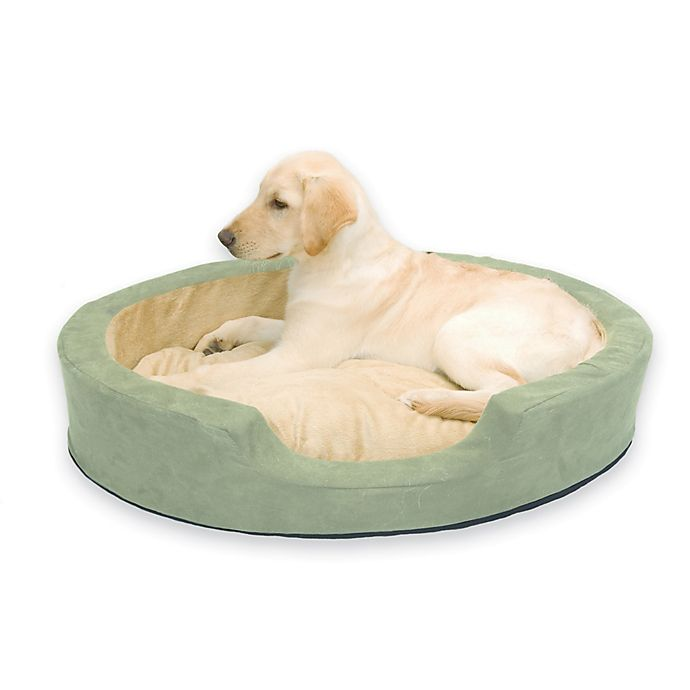 Alternate image 1 for Thermo Snuggly Large Heated Pet Sleeper in Sage