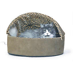 Small Thermo-Kitty Hooded Pet Bed in Mocha Leopard